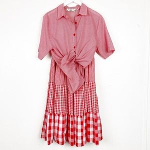 Vintage Orvis Size Gingham Plaid Blouse Skirt Set